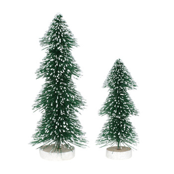 Set of 2 Village trees add to your Village display with a unique shape. This Village tree set is hand-crafted, sisal.