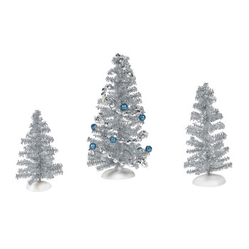Set of 3 Village trees add to your Village display. One is joyfully trimmed with blue balls and silver garland. This Village tree set is hand-crafted, plastic.