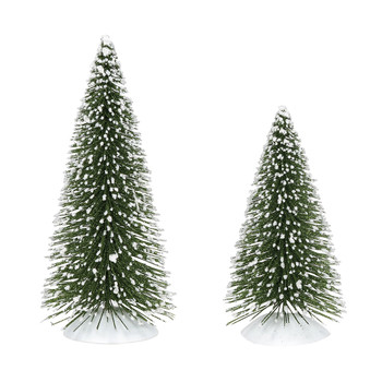 Set of 2 Village trees add to your Village display. Classic shape, color, size make this a popular display addition. This Village tree set is hand-crafted, sisal.
