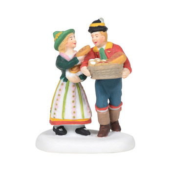 A young couple enjoys an early morning trip to the bakery for the freshest and sweetest items of the day. Sweets for my Sweet, this Village accessory is hand-crafted, hand-painted, Porcelain.