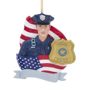 POLICEMAN W/FLAG ORN