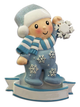 BABY BOY IN PAJAMAS SNOWFLAKE - OR1920-B
