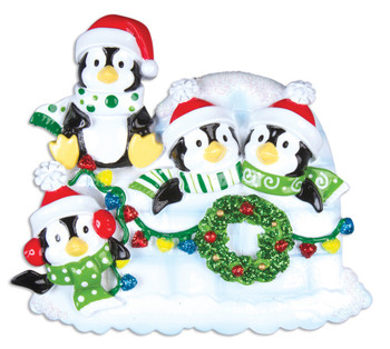 4 PENGUINS W/WREATH - OR969-4