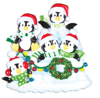 5 PENGUINS W/WREATH - OR969-5