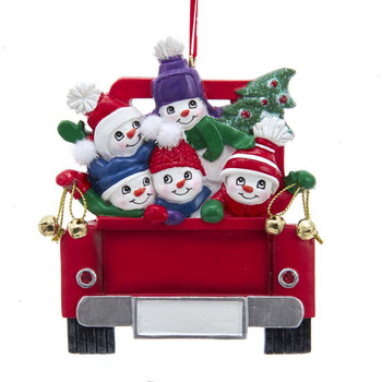 5 SNOWMEN ON TRUCK FAMILY ORN