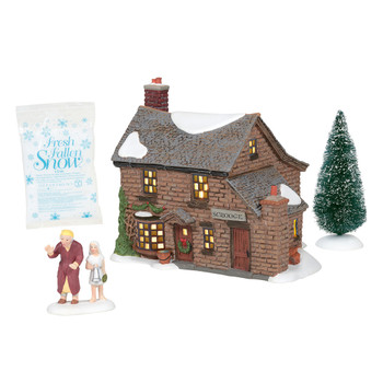 """First in a grouping of 3, Scrooge meets the Ghost of Christmas Past, making several stops including one the home where Scrooge grew up. Set of 4 includes: """"Scrooge with the First Spirit"""" accessory, sisal tree, and bag of snow."""