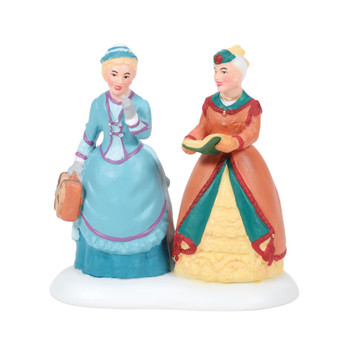 Two of London's more elegant discuss the latest release from Charles Dickens. This Village accessory is hand-crafted, hand-painted, porcelain.