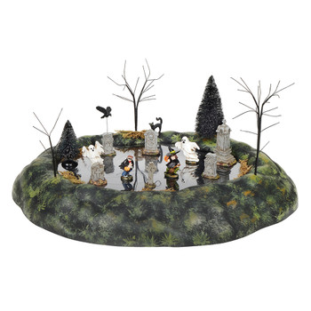 Animated table top features 2 costumed kids with 2 ghosts scampering through the tombstones. This animated Village accessory is, hand-crafted, hand-painted, polyresin. Adapter cord included.
