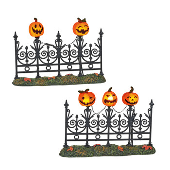 Set of 2 with lit Jack-o-laterns gives a Victorian vibe, perfect for your grand Village haunted mansion.This general accessory is hand-crafted, hand-painted, diecast. Battery box included, 2 C batteries required.