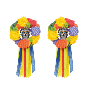 Set of 2, colorful wreaths with skulls can be placed anywhere in your Village display. This general accessory is hand-crafted, hand-painted, resin.