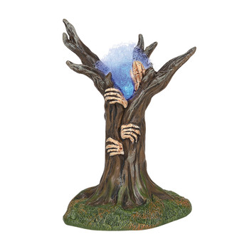An eary light, hands, and smokey whisps highlight the hollow of this Village yard tree. This Village tree is hand-crafted, resin. Battery box included, 2 C batteries required.