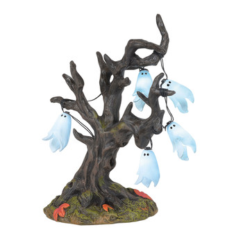 A string of lit ghosts hang in an old tree, making a perfect Village yard decor. This Village tree is hand-crafted, resin. Battery box included, 2 C batteries required.