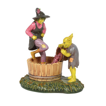 Celia is hard at work squishing down the harvest, on her way through toe jam, to creating the finest wine in the hollow. This Village accessory is hand-crafted, hand-painted, resin.