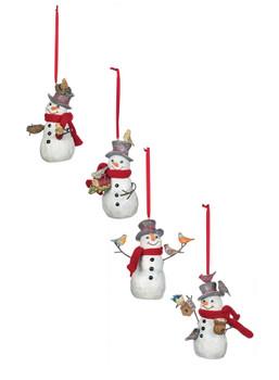 SNOWMAN W/BIRDS ON TOP HAT ORN