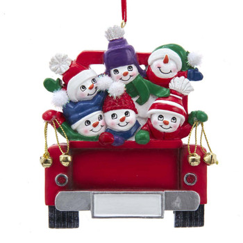 6 SNOWMEN ON TRUCK FAMILY ORN