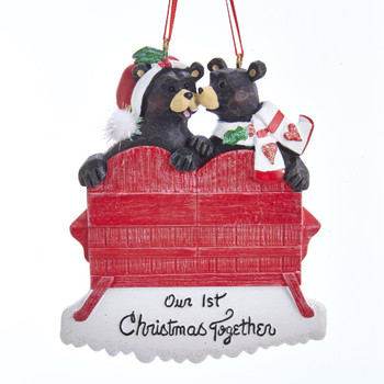 1ST XMAS BLACK BEAR RED CHAIR