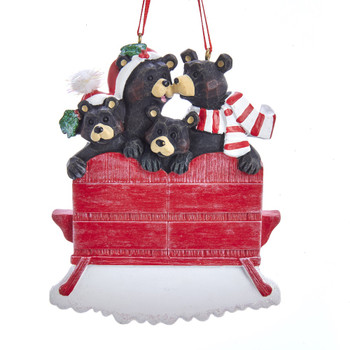 4 BLACK BEAR RED CHAIR FAMILY