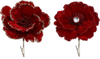 RED FLOWER CLIP without diamond