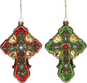 RED JEWELED CROSS ORN