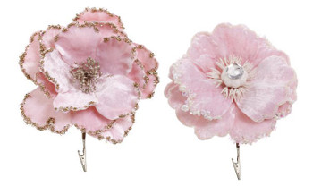 PINK FLOWER CLIP w/Pearl