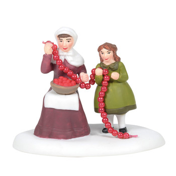 Cranberry bogs are plentiful in Southeast Mass, and cranberries strung together make a great garland for the holiday trees. This Village accessory is hand-crafted, hand-painted, porcelain.