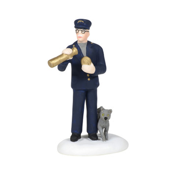 Lightkeeper, with his trusty kitten, uses a monocular to check the horizon for incoming weather. This Village accessory is hand-crafted, hand-painted, porcelain.