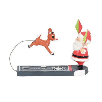 Santa gives young Rudolph tips on sticking the perfect landing.This Village accessory is hand-crafted, hand-painted, porcelain and resin.