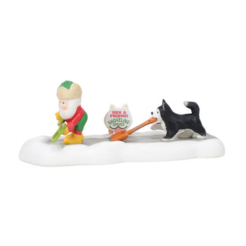 For a small fee, this busy elf will stop to shovel any sidewalk at the North Pole, and his furry friend is happy to lend a paw. This Village accessory is hand-crafted, hand-painted, porcelain.
