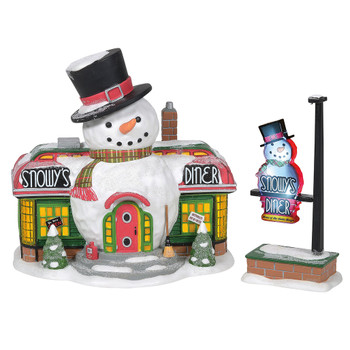 After a long day of building toys, Santa and his elves love to stop at Snowy's Diner. Built from a vintage train dining car, the campy snowman design sets the causal vibe of the atmosphere inside. Set of 2 includes roadside sign.