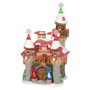 At a castle fit for a king, the large door opens to welcome visitors to the North Pole. From the main turret, Santa and his elves can watch all the good boys & girls throughout the season. Color-changing snowflakes cap the turrets & flank the front door.
