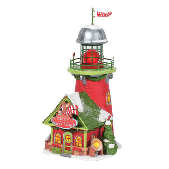 Inspired by Rudolph's nose, the Blinking Beacon light tower illuminates the whole Village of North Pole. So, if Rudolph is off in flight or tucked in tight, the elves at North Pole will be able to see through any storm.