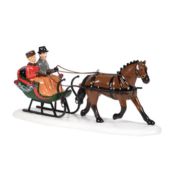 A one-horse open sleigh ride provides a happy couple with a wintertime tradition. This Village accessory is hand-crafted, hand-painted, ceramic. Includes light cord and bulb.