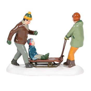 Mom and dad end their day by giving their little one a sled ride home. This Village accessory is hand-crafted, hand-painted, ceramic. Adapter cord included.