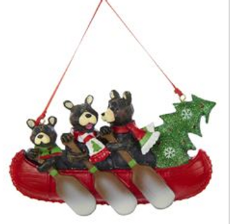This bear family of three in canoe ornament for personalization from Kurt Adler is a lovely addition to any holiday décor or Christmas tree. Features a cheerful black bear family of three in a bright red canoe, each wearing a festive scarf.