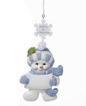 BLUE BABY'S FIRST CHRISTMAS SNOWMAN