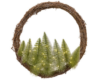WREATH WITH TREES LED