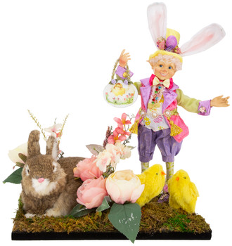 SPRING ELFIN W/RABBIT AND CHICK ARRANGEMENT, LG - AI-14356