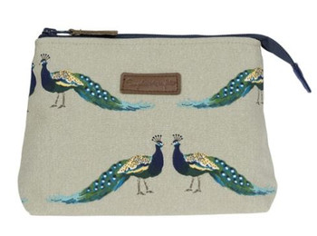 CANVAS MAKEUP BAG-SM-PEACOCKS-ALL64510