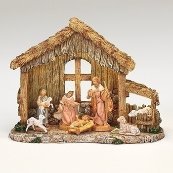 NATIVITY STABLE W/ 7 FIGURES
