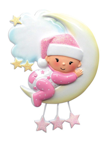 BABY GIRL ON MOON ORN - OR1637-P