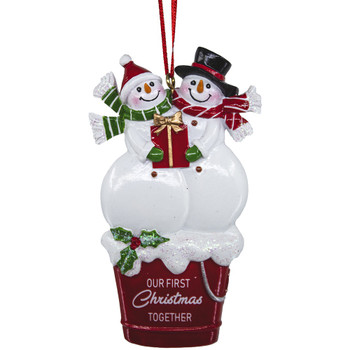 1ST XMAS SNOWMEN COUPLE ORN
