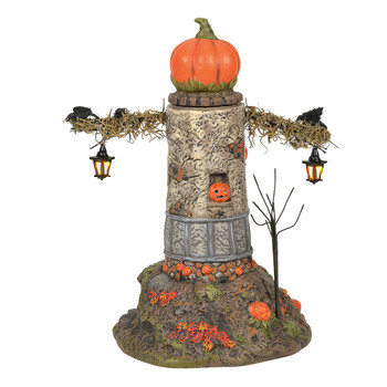 One part scarecrow, one part lighthouse, this frightful lit tower may not keep you from danger, but will definitely keep you awake at night. Lit spinning pumpkin head is accented with hanging lanterns and lit jack-o-lanterns.