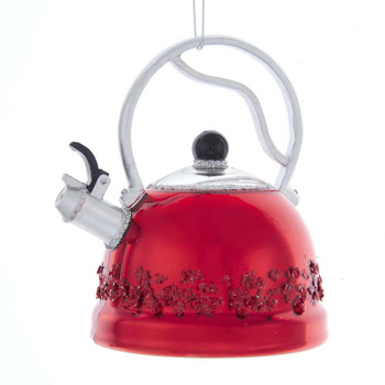 TEA KETTLE GLASS ORN - NB1606