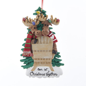 """2 MOOSE """"OUR 1st CHRISTMAS"""" ORNAMENT"""