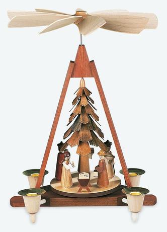 Beautiful handcrafted pyramids from Mueller, in the Erzgebirge region of German. Pyramid Nativity Scene
