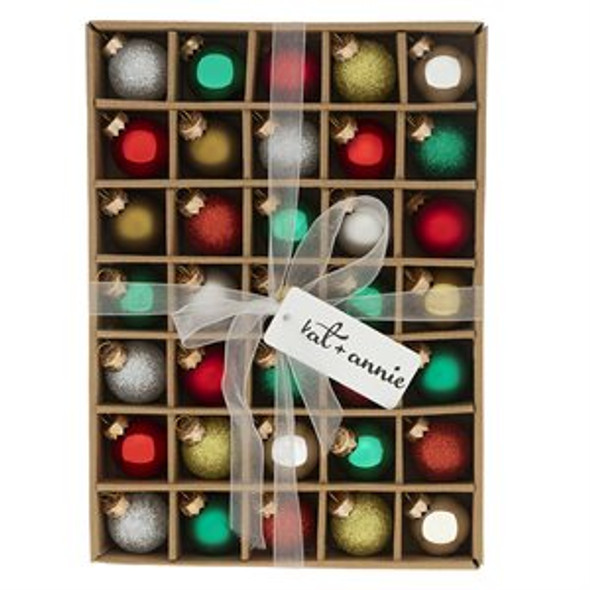 This 35 box set features a delightful mix of Glitter, Shiny and Satin ornament ready to complete your holiday decor.