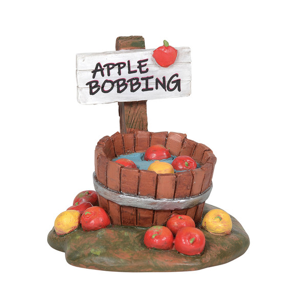 Apples in the half barrel are party ready and offer a cure yard decor for your Village display.This general accessory is hand-crafted, hand-painted, resin.