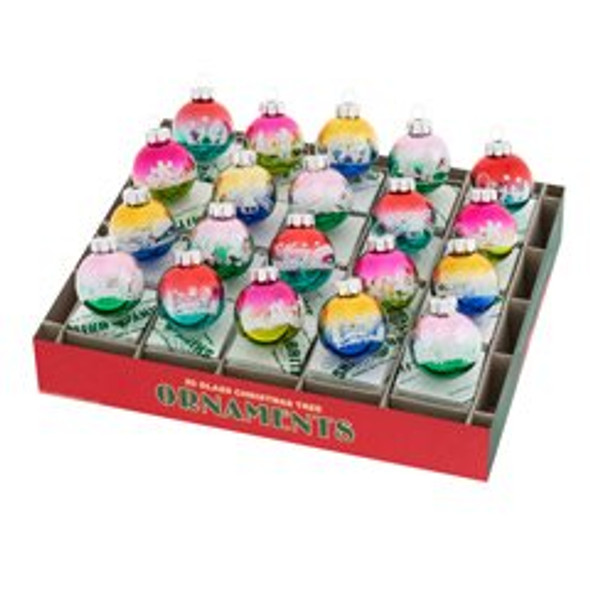 """Christmas Confetti 20 Count 1.25"""" Signature Flocked Ombre Rounds."""