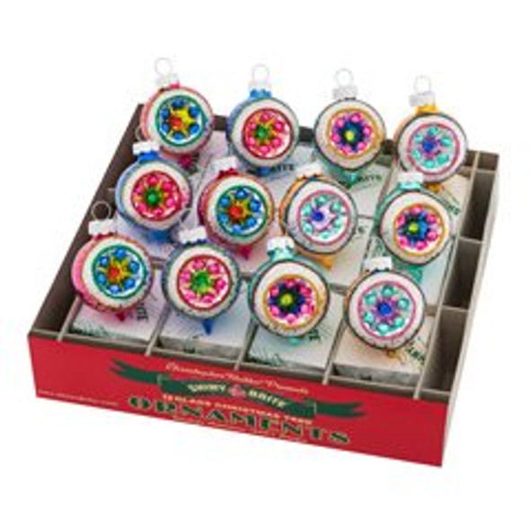 """Christmas Confetti 12 Count 1.75"""" Decorated Refelctor Rounds"""