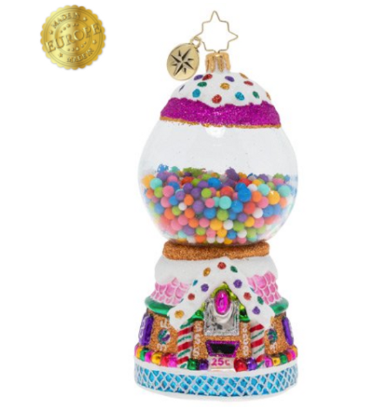 Gum balls galore! This tasty ornament is disguised as a candy gumball machine! With a gingerbread base, rainbow sprinkles and gumdrop accents, this is one delicious treat!